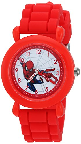 Marvel Boy's 'Spider-Man' Quartz Plastic and Nylon Casual Watch, Color:Red (Model: WMA000231)