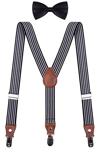 Boy Bow Tie and Suspenders Bow Ties Tuxedo Striped Suspenders White Black Stripe