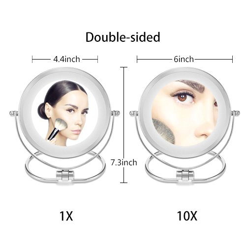 Double-Sided Makeup Mirror,Folding LED Lighted Vanity Mirror,1x/10x Magenifycation, 6-Inch,Stainless Steel by MOMIRA (Image #2)
