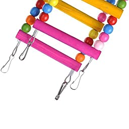 SALICO Wooden Colorful 12 Ladders Parrot Swing Toys, 31.5\