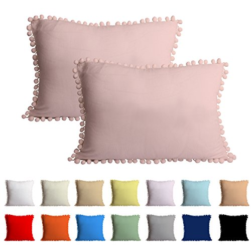 Queenie - 2 Pcs Light Weight Solid Color Cotton Pom Pom Pillow Cover Pom-Fringe Throw Pillowcase Available in different Colors And Sizes (13.75 x 19.75 Inch (35 x 50 cm), Baby Pink) Pink Fringe Pillow
