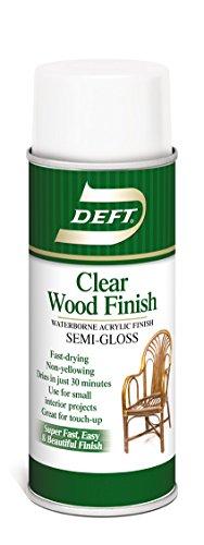 Wood Finish, Clear Semi-Gloss, 12.25 oz. Spray Can, Waterborne Acrylic Finish, Clear Wood Finish, Deft