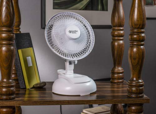 Comfort Zone CZ6XMWT 2-Speed 6-inch Clip Fan with Base and Adjustable Tilt