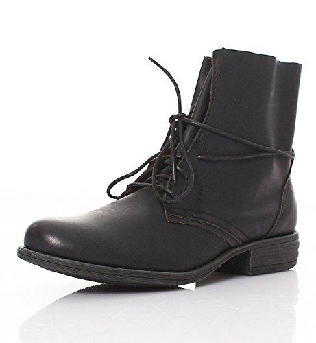 Matyfashion Stylische Damen Schnür Stiefeletten/Boots in Lederoptik 630 Schwarz