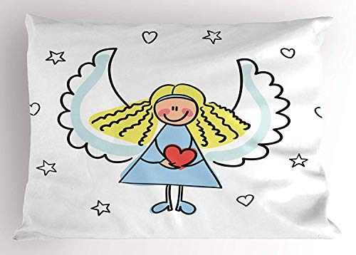 - MTDKX Xmas Pillow Sham, Cute Little Girl with Wings Red Heart Stars Angel Blessing Heaven Holiday, Decorative Standard Queen Size Printed Pillowcase, 30 X 20 inches, Black White Pale Blue