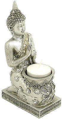 Silver Buddha Incense & Candle Holder: Amazon co uk: Kitchen