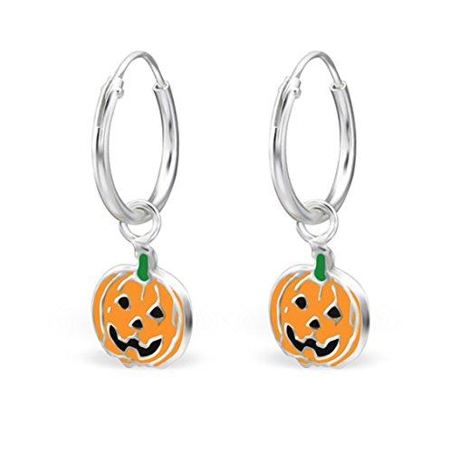 Sterling Silver 925 Hoop Earrings Halloween Pumpkin for Girls (E28032) ()
