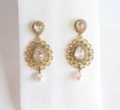- Wedding Gold Bridal Earrings/Wedding Chandelier Earrings/Drop Earrings/Bridal Wedding Jewelry/Crystal Teardrop Earrings/Bridesmaid Earrings/
