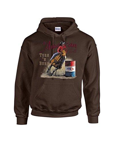 - T-ShirtQueen Men's Turn N Burn Barrel Racing Rodeo Cowgirl Hoodie Sweatshirt Medium Brown