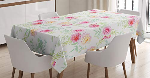 Ambesonne Watercolor Flower Decor Tablecloth, Pale Soft Colored Petite Roses in Chic Vintage Old Style Retro Painting, Rectangular Table Cover for Dining Room Kitchen, 52x70 Inch, White Green