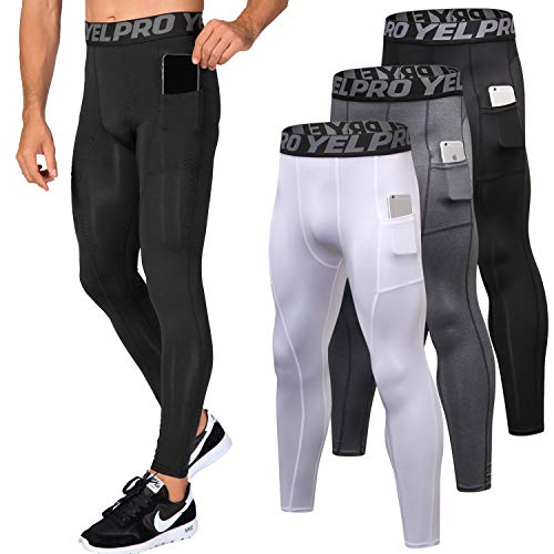 Lavento Men's Compression Pants Baselayer Cool Dry Pocket Running Ankle Leggings Active Tights (3 Pack-3911 Black/Gray/White,Medium)