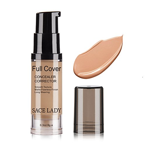 Pro Full Cover Liquid Concealer, Waterproof Smooth Matte Flawless Finish Creamy Concealer Foundation for Eye Dark Circles Spot Face Concealer Makeup, Size:6ml/0.20Fl Oz (06.Medium/Dark)