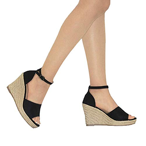 Cenglings Wedges Shoes,Women Sexy Fish Mouth Buckle Ankle Strap Sandals Breathable Slip On Shallow Platform Shoes Black