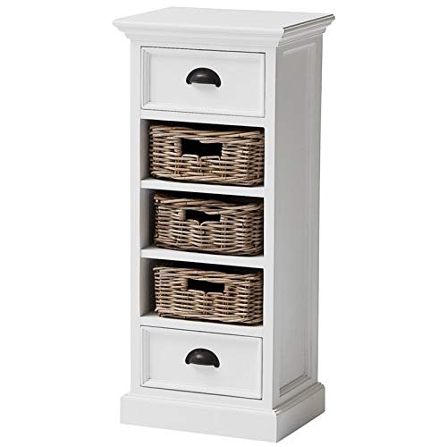 NovaSolo Halifax Pure White Mahogany Wood 2-Drawer Chest With 3 Rattan Baskets (Unit Storage Drawer Rattan)