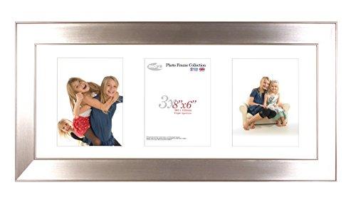 Inov8 Framing Inov8 British Made Traditional Picture/Photo Frame, Twin Edge Chrome Triple App, 8x6 Inch (20x15cm) x3 Portrait Aperture, 20.32 x 15.24 x 3 ()