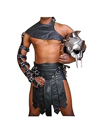 Real Black Leather Heavy Duty Mens Roman Gladiator Kilt Set LARP - (K3-BLK) W32 -
