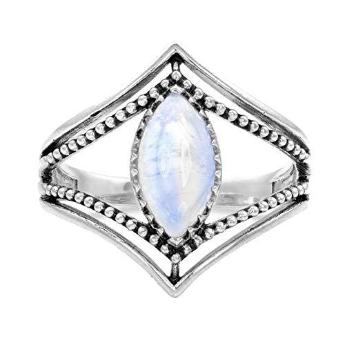 (nanzhushangmao 1PC Boho Silver Natural Gemstone Marquise Moonstone Personalized Ring)