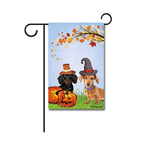 KafePross Cute Dachshunds in Hat Fall Garden Flag Happy Halloween Pumpkin Autumn Decor Banner for Outside 12.5