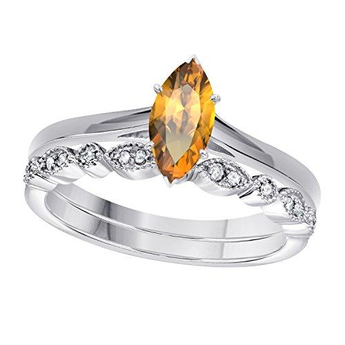 (Gems and Jewels 1.00 Ct Marquise Shape & Round Cut Yellow Citrine & White CZ Diamond 14k White Gold Plated Art Deco Vintage Design Wedding Bridal Set Engagement Ring)