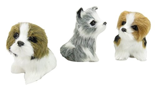 "Daiso Adorable Faux Fur Dog Canine Figurine Collection Miniature 3.5"" x 3"" White Brown Gray (Set of 3)"