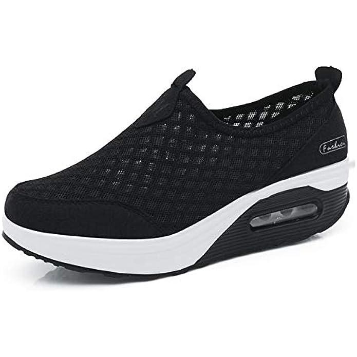 L LOUBIT Women Sneakers Comfort Slip On Wedges Shoes Breathable Mesh Walking Shoes