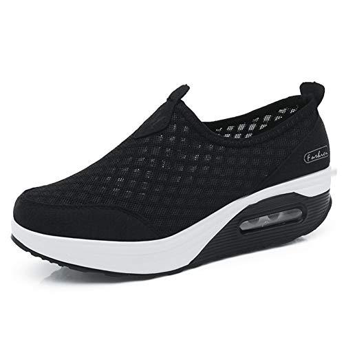 L LOUBIT Women Walking Shoes Slip on Athletic Tennis Breathable Wedge Sneakers 442 Black 38