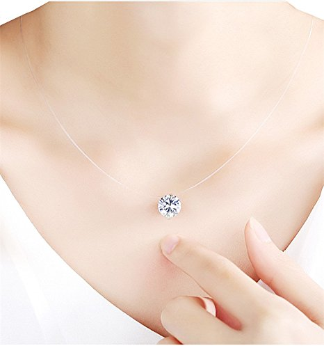(QTMY Transparent Clear Invisible Chain Crystal String Cord Rhinestone 8mm Zircon Pendant Necklace)