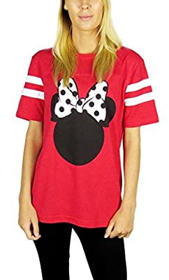 Disney Womens Minnie Mouse Varsity Football Tee Red Heather