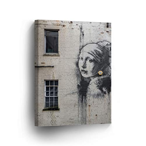 Smile Art Design Banksy Canvas Print Girl with Pearl Earring Graffiti Street Art Banksy Wall Art Modern Art Wall Decor Home Decor Stretched Ready to Hang-%100 Made in The USA- 36x24 ()