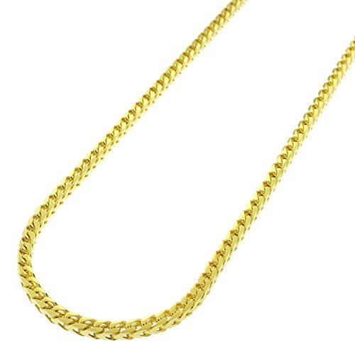 """18K Yellow Gold Italian 2.5mm Solid Franco Square Box Link - 925 Sterling Silver - Necklace Chain - 16"""" - 30"""""""