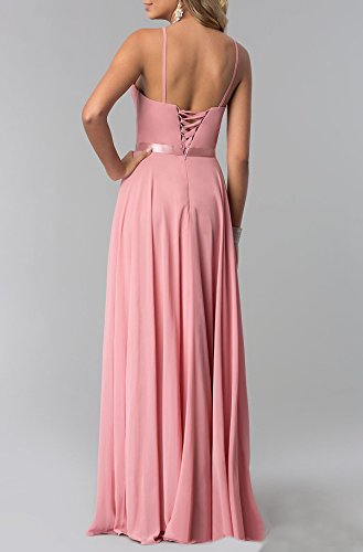 Bridal Formal Beauty Neck Chiffon Pink Maxi Halter Dresses Evening Bridesmaid Womens RFwqdOrF