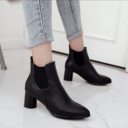 Fashion Coolcept Women Chelsea Block Heel Black Boots v846wxgqZf
