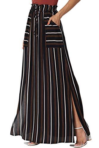 Waist Skirt Woven Elastic (TheMogan Women's Striped Drawstring Elastic Waist Pocket Maxi Skirt Navy L)