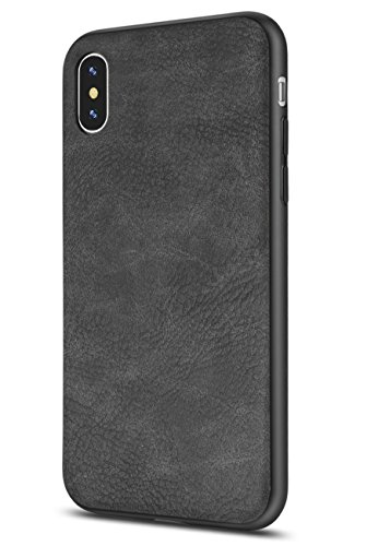 Salawat Compatible iPhone Xs Max Case, Slim PU Leather Vintage Shockproof Phone Case Cover Lightweight Premium Soft TPU Bumper Hard PC Protective Case for iPhone Xs Max 6.5inch 2018 (Black)
