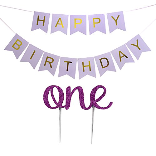 LOVELY BITON(TM Large Purple Happy Birthday Wall Banner with 1st One Cake Topper for Birthday Party Decorations