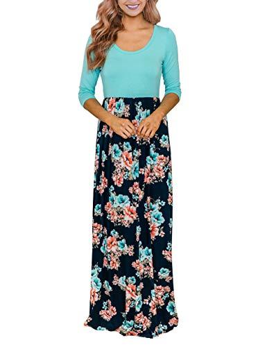 DUNEA Women's Maxi Dress Floral Printed Autumn 3/4 Sleeve Casual Tunic Long Maxi Dress (XX-Large, DarkTurquoise)