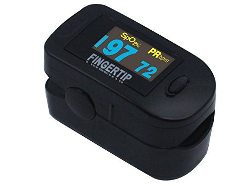 Concord BlackOx Deluxe Dual Color OLED Display Fingertip Pulse Oximeter with 6-Way Display, Carrying Case and Lanyard