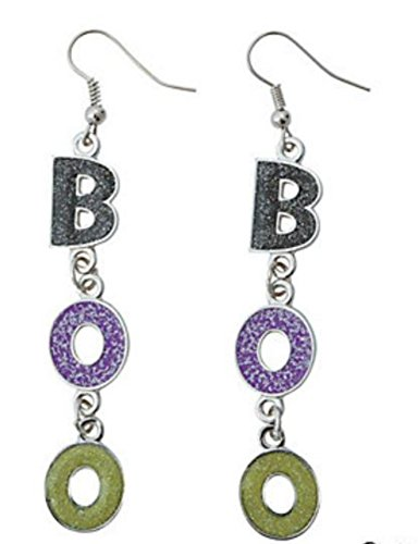 B-O-O Silver-toned Sparkling Enamel Dangle Earrings 3