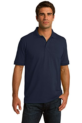 Sportoli Men's Cotton Blend Solid Everyday Uniform Short Sleeve Polo Shirt Top - Navy (3X-Large)