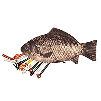 Tinksky Funny Carp Fish-like Zipper Pouch Weird Pen Pencil Case Makeup Case Bag Pen Bag Pencil Case Holder Christmas Birthday Gift for friends