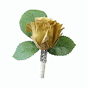 Angel Isabella Boutonniere-Nice hand-crafted rosebud keepsake artificial flower-Pearl headed Pin included (Metallic Gold) 24