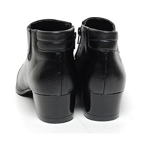 Epicstep Mens Scarpe In Vera Pelle Vestito Formale Business Casual Bicolore Ankle Boots Nero