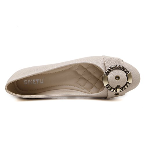 Meeshine Frauen Ballerinas Comfort Slip On Fashion Kleid Schuhe Aprikose