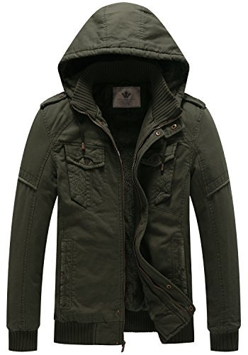WenVen Men's Insuleted Jacket Thick Winter Hooded Coat (Army ()