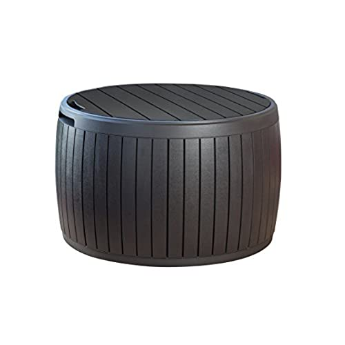 small deck furniture small yard keter 37 gallon circa natural wood style round outdoor storage table deck box small furniture amazoncom
