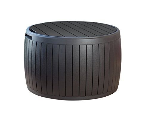 Keter 230897 37 Gallon Circa Natural Wood Style Round Outdoor Storage Table - Rock Designs River