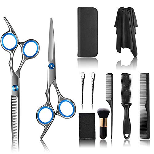 11 PCS Hair Cutting Scissors, Professional Barber Kit Scissors, Trimming Scissors for Hair, Thinning Shears for Home…