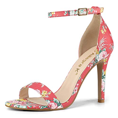 Allegra K Women's Floral Printed Ankle Strap Stiletto Heel Red Sandals - 8.5 M US