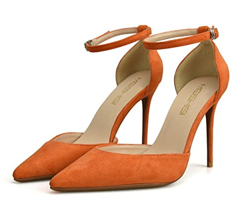 Correa Tobillo Fiesta pie Medio XIE Sandalias Corte Dedo Mujer Boda Cerca Zapatillas Alto Tacón del orange del Estilete Puntiagudo Casual L Zapatos wn6tEqw