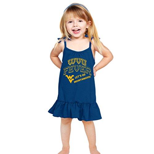 Cheekie Peach NCAA West Virginia Mountaineers Girls Strappy Dress, 5T, Navy (Dress Girls Strappy)
